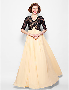 A-line Mother of the Bride Dress - Champagne Floor-length Half Sleeve Chiffon/Lace