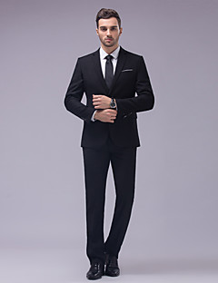 Suits Tailored Fit Slim Notch Single Breasted Two-buttons Cotton / Polyester Solid 2 Pieces Black