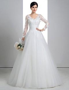 A-line Wedding Dress - White Floor-length V-neck Lace/Linen/Tulle