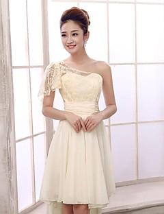 동창회 들러리 드레스 짧은 / 미니 쉬폰 A 라인 어깨 하나 드레스