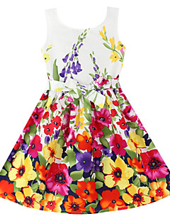 Girl's Fashion Flower Print  Party Princess Kids Clothing Lovely Princess Dresses (100% Cotton)