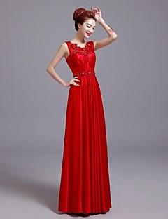 Formal Evening Dress A-line V-neck Floor-length Satin Dress
