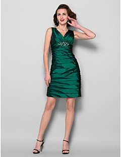 Lanting Sheath/Column Plus Sizes / Petite Mother of the Bride Dress - Dark Green Knee-length Sleeveless Taffeta