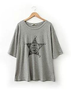 여성의 프린트 라운드 넥 ½ 길이 소매 티셔츠,심플 캐쥬얼/데일리 화이트 / 그레이 봄 얇음
