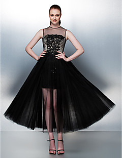 Homecoming Homecoming/Prom/Formal Evening Dress - Black A-line/Princess Jewel Tea-length Tulle