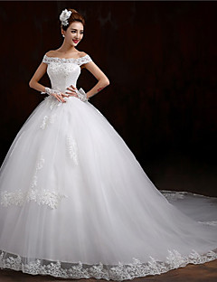 Ball Gown Wedding Dress Lacy Look Chapel Train Off-the-shoulder Tulle with Appliques Beading