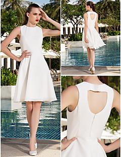 웨딩 드레스 - 아이보리(색상은 모니터에 따라 다를 수 있음) A 라인/프린세스 무릎 길이 스쿱 쉬폰 플러스 사이즈