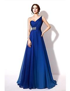 포멀 이브닝 드레스 - 컬러 그라데이션 A-라인 원 숄더 바닥 길이 쉬폰 와 비즈 / 크리스탈 디테일