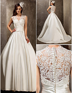 Lanting Bride® A-line / Princess Petite / Plus Sizes Wedding Dress - Elegant & Luxurious / Glamorous & Dramatic Sweep / Brush TrainQueen