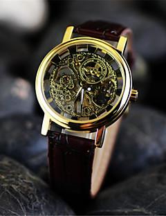 男性 リストウォッチ 機械式時計 透かし加工 手巻き式 レザー バンド ブラウン