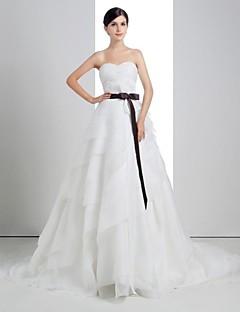 A-line Wedding Dress - White Chapel Train Strapless Linen/Tulle
