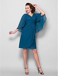 Lanting Sheath/Column Plus Sizes / Petite Mother of the Bride Dress - Ink Blue Knee-length 3/4 Length Sleeve Chiffon