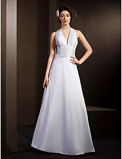 A-line Wedding Dress - White Floor-length V-neck Taffeta