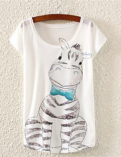 BLE Women's Round Neck 3D T-shirt, Cotton Blends Short Sleeve