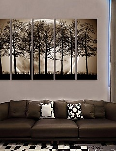 e-home® întins panza ești noaptea în umbra setului pictură decorare copaci de 5