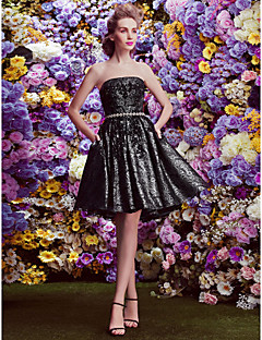 Homecoming TS Couture Cocktail Party Dress - Black Ball Gown Strapless Knee-length Lace