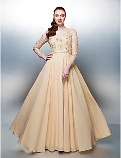 TS Couture Prom / Formal Evening Dress - Champagne Plus Sizes / Petite A-line Jewel Floor-length Chiffon