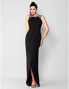 Formal Evening / Black Tie Gala Dress Plus Size / Petite Sheath / Column Jewel Asymmetrical Chiffon withBeading / Crystal Detailing /