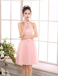 Knee-length Chiffon / Tulle Bridesmaid Dress A-line / Princess Halter with Bow(s) / Lace