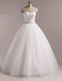볼 드레스 웨딩 드레스 바닥 길이 스트랩 튤 와