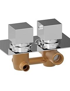 現代風 壁式 サーモスタットタイプ with  真鍮バルブ 二つのハンドル二つの穴 for  クロム , シャワー水栓
