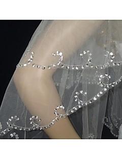 Velo corto (ai gomiti) 2 strati - Glitter - di Bianco/Avorio