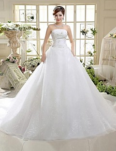 A-line Wedding Dress Cathedral Train / Floor-length Strapless Tulle with Bow / Sequin