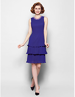 Sheath/Column Plus Sizes / Petite Mother of the Bride Dress - Regency Knee-length Sleeveless Chiffon