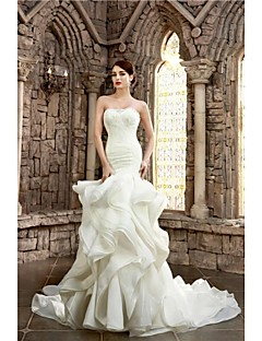 Trumpet / Mermaid Wedding Dress Vintage Inspired Court Train Strapless Lace Organza Satin withAppliques Beading Cascading