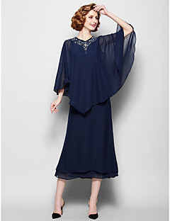 Lanting Sheath/Column Plus Sizes / Petite Mother of the Bride Dress - Dark Navy Tea-length 3/4 Length Sleeve Chiffon