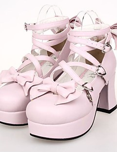 Pink PU Leather  7.5CM High Heel Sweet Lolita Shoes With Row