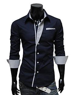 Menn Langermet Skjorte Polyester Fritid / Arbeid / Formelt Ensfarget