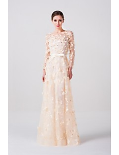 A-line Floor-length Wedding Dress -Scoop Lace