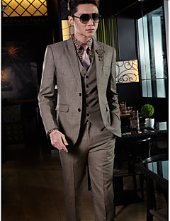 Tuxedos Tailored Fit Slim Peak Two-Button Cotton/Polyester Tattersall 3 Pieces Brown