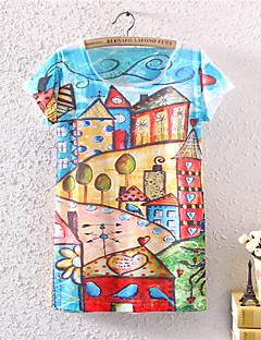 Tee-shirt Aux femmes Manches Courtes Col Arrondi Mélanges de Coton