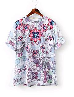 여성의 프린트 라운드 넥 짧은 소매 티셔츠,심플 캐쥬얼/데일리 멀티 색상 면 여름 중간