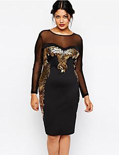 Sukienka - Obuwie damskie Do kolan - Długi rękaw - Okrągły dekolt