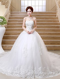 Ball Gown Wedding Dress Sparkle & Shine Chapel Train Strapless Satin Tulle with Appliques Beading