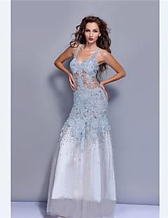 Vestido - Azul Céu Festa Formal Sereia Alças Longo Tule