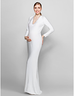 Formal Evening Dress - Ivory Plus Sizes / Petite Sheath/Column V-neck Floor-length Knit
