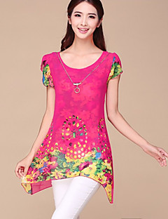 Mulheres Blusa Decote Redondo Manga Curta Chifon Mulheres