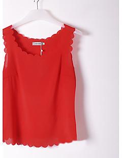 여성의 솔리드 라운드 넥 민소매 블라우스,심플 캐쥬얼/데일리 여름 얇음