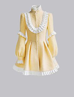 Langermet kort gul ull søt lolita frakk