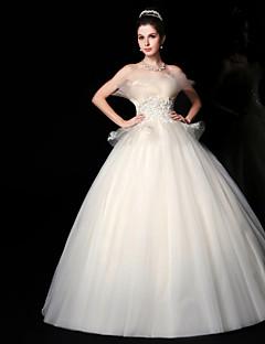 התחרה -strapless שמלת כלה באורך רצפת שמלת נשף