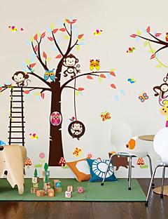 pared calcomanías pegatinas de pared, estilo mono búho pegatinas león elefante pvc vivero