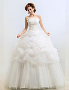웨딩 드레스 - 화이트 볼 가운 바닥 길이 튜브탑 밸뱃 쉬폰