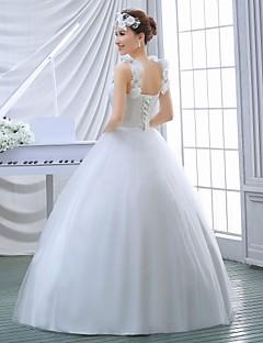 Vestido de Boda - Blanco Corte Evasé Hasta el Suelo - Escote en U Organza