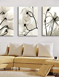 E-Home® Leinwand Kunstblumendekoration Malerei Set von 3