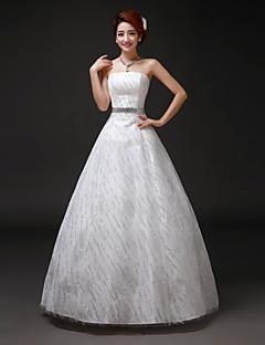 Vestido de Boda - Blanco Corte en A Hasta el Suelo - Sin Tirantes Tul