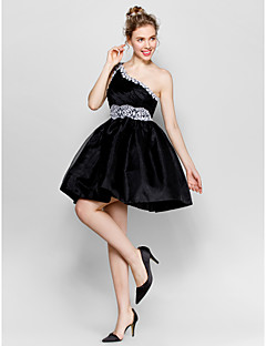 Cocktail Party Dress - Black / Ivory Plus Sizes / Petite A-line One Shoulder Short/Mini Taffeta